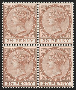 Sale Number 1204, Lot Number 722, Cayman Islands thru Falkland IslandsDOMINICA, 1884, 2-1/2p Red Brown (20; SG 15), DOMINICA, 1884, 2-1/2p Red Brown (20; SG 15)