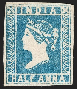 Sale Number 1204, Lot Number 760, India - 1854 Lithograph IssuesINDIA, 1854, -1/2a Pale Blue (SG 8; Scott 2), INDIA, 1854, -1/2a Pale Blue (SG 8; Scott 2)