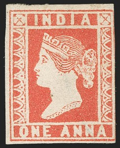Sale Number 1204, Lot Number 763, India - 1854 Lithograph IssuesINDIA, 1854, 1a Red (SG 15; Scott 4), INDIA, 1854, 1a Red (SG 15; Scott 4)