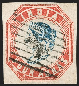 Sale Number 1204, Lot Number 773, India - 1854 Lithograph IssuesINDIA, 1854, 4a Red & Deep Blue (SG 22; Scott 6), INDIA, 1854, 4a Red & Deep Blue (SG 22; Scott 6)
