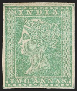 Sale Number 1204, Lot Number 780, India - 1854 Lithograph IssuesINDIA, 1854, 2a Emerald Green (SG 34; Scott 2 var), INDIA, 1854, 2a Emerald Green (SG 34; Scott 2 var)