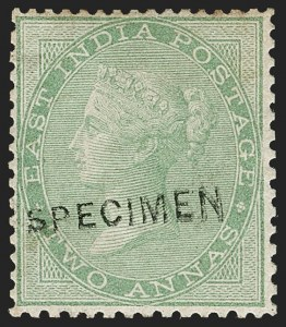 "Sale Number 1204, Lot Number 781, India - 1855 De La Rue Issues thru King George VINDIA, 1855-64, 2a Yellow Green, Unissued, ""Specimen"" Overprint (SG 50s; Scott 14S), INDIA, 1855-64, 2a Yellow Green, Unissued, ""Specimen"" Overprint (SG 50s; Scott 14S)"