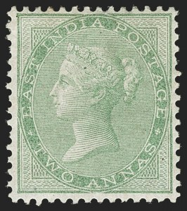 Sale Number 1204, Lot Number 782, India - 1855 De La Rue Issues thru King George VINDIA, 1855-64, 2a Yellow Green, Unissued (SG 50; Scott 14), INDIA, 1855-64, 2a Yellow Green, Unissued (SG 50; Scott 14)