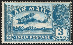"Sale Number 1204, Lot Number 792, India - 1855 De La Rue Issues thru King George VINDIA, 1929, 3a Deep Blue, ""1"" for Second ""I"" in ""India"" (SG 221b; Scott C2 var), INDIA, 1929, 3a Deep Blue, ""1"" for Second ""I"" in ""India"" (SG 221b; Scott C2 var)"
