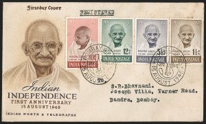 Sale Number 1204, Lot Number 799, India - 1948 Gandhi IssueINDIA, 1948, 1-1/2a-10r Gandhi (SG 305-308; Scott 203-206), INDIA, 1948, 1-1/2a-10r Gandhi (SG 305-308; Scott 203-206)