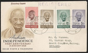 Sale Number 1204, Lot Number 800, India - 1948 Gandhi IssueINDIA, 1948, 1-1/2a-10r Gandhi (SG 305-308; Scott 203-206), INDIA, 1948, 1-1/2a-10r Gandhi (SG 305-308; Scott 203-206)
