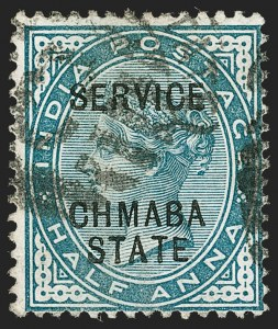 "Sale Number 1204, Lot Number 831, Indian Convention and Feudatory States incl. CochinINDIA, Chamba, 1887-98, -1/2a Green, Official, ""CHMABA"" Overprint (SG O1a; Scott O1a), INDIA, Chamba, 1887-98, -1/2a Green, Official, ""CHMABA"" Overprint (SG O1a; Scott O1a)"