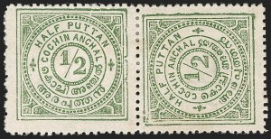 Sale Number 1204, Lot Number 835, Indian Convention and Feudatory States incl. CochinINDIA, Cochin, 1903, -1/2p Gray Green, Pair, One Sideways (12Af; SG 17a), INDIA, Cochin, 1903, -1/2p Gray Green, Pair, One Sideways (12Af; SG 17a)