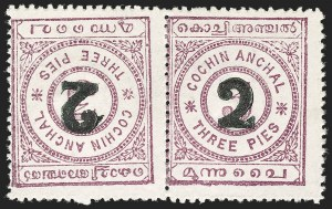 Sale Number 1204, Lot Number 837, Indian Convention and Feudatory States incl. CochinINDIA, Cochin, 1909, 2p on 3p Red Violet, Pair, Stamps & Surcharge Tete-Beche (13c; SG 22e), INDIA, Cochin, 1909, 2p on 3p Red Violet, Pair, Stamps & Surcharge Tete-Beche (13c; SG 22e)