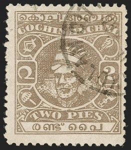 Sale Number 1204, Lot Number 838, Indian Convention and Feudatory States incl. CochinINDIA, Cochin, 1943, 2p Dull Gray Brown, Perf 11 (63b; SG 85a), INDIA, Cochin, 1943, 2p Dull Gray Brown, Perf 11 (63b; SG 85a)