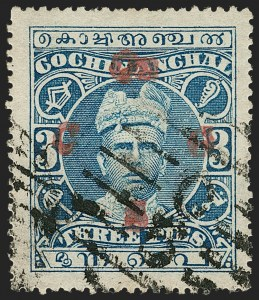 Sale Number 1204, Lot Number 845, Indian Convention and Feudatory States incl. CochinINDIA, Cochin, 1921, 3p Blue, Double Overprint, Official (O23b; SG O1c), INDIA, Cochin, 1921, 3p Blue, Double Overprint, Official (O23b; SG O1c)
