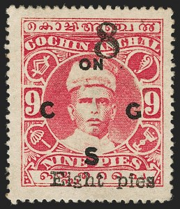 Sale Number 1204, Lot Number 846, Indian Convention and Feudatory States incl. CochinINDIA, Cochin, 1923, 8p on 9p Carmine Rose, Official (O24; SG O20), INDIA, Cochin, 1923, 8p on 9p Carmine Rose, Official (O24; SG O20)