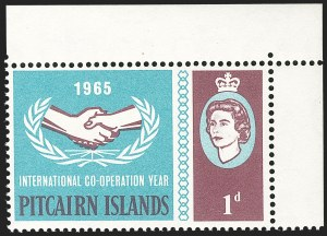 "Sale Number 1204, Lot Number 904, Northern Rhodesia thru St. VincentPITCAIRN ISLANDS, 1965, 1p I.C.Y., Offset of ""Tristan da Cunha"" on Reverse (SG 51a), PITCAIRN ISLANDS, 1965, 1p I.C.Y., Offset of ""Tristan da Cunha"" on Reverse (SG 51a)"