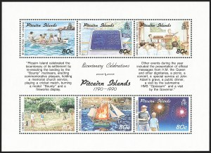 Sale Number 1204, Lot Number 906, Northern Rhodesia thru St. VincentPITCAIRN ISLANDS, 1991, 80c Bicentenary Souvenir Sheet of Six, Watermark Inverted (347 var; SG 389aw), PITCAIRN ISLANDS, 1991, 80c Bicentenary Souvenir Sheet of Six, Watermark Inverted (347 var; SG 389aw)