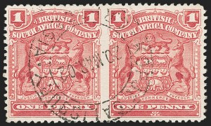 Sale Number 1204, Lot Number 907, Northern Rhodesia thru St. VincentRHODESIA, 1898, 1p Rose, Horizontal Pair, Imperforate Between (60a; SG 77c), RHODESIA, 1898, 1p Rose, Horizontal Pair, Imperforate Between (60a; SG 77c)