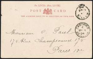 "Sale Number 1204, Lot Number 909, Northern Rhodesia thru St. VincentST. LUCIA, 1904, ""Paid at St. Lucia"" Crowned Circle Handstamp (A1; SG CC1), ST. LUCIA, 1904, ""Paid at St. Lucia"" Crowned Circle Handstamp (A1; SG CC1)"