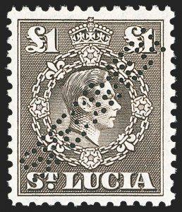 "Sale Number 1204, Lot Number 911, Northern Rhodesia thru St. VincentST. LUCIA, 1938-48, -1/2p-£1 King George VI, Perforated ""Specimen"" (110S-126S; SG 128s-141s), ST. LUCIA, 1938-48, -1/2p-£1 King George VI, Perforated ""Specimen"" (110S-126S; SG 128s-141s)"