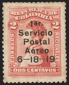 Sale Number 1204, Lot Number 945, Colombia Air Post - 1919 Knox Martin IssueCOLOMBIA, 1919, 2c Knox Martin Air Post (C1), COLOMBIA, 1919, 2c Knox Martin Air Post (C1)