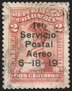 Sale Number 1204, Lot Number 946, Colombia Air Post - 1919 Knox Martin IssueCOLOMBIA, 1919, 2c Knox Martin Air Post (C1), COLOMBIA, 1919, 2c Knox Martin Air Post (C1)