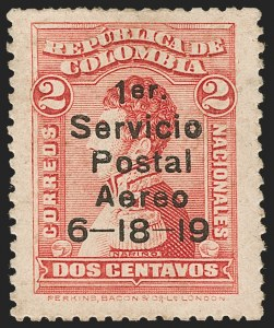 Sale Number 1204, Lot Number 949, Colombia Air Post - 1919 Knox Martin IssueCOLOMBIA, 1919, 2c Knox Martin Air Post (C1), COLOMBIA, 1919, 2c Knox Martin Air Post (C1)