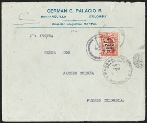 "Sale Number 1204, Lot Number 950, Colombia Air Post - 1919 Knox Martin IssueCOLOMBIA, 1919, 2c Knox Martin Air Post, Numeral ""1"" with Serif (C1a), COLOMBIA, 1919, 2c Knox Martin Air Post, Numeral ""1"" with Serif (C1a)"