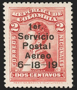Sale Number 1204, Lot Number 952, Colombia Air Post - 1919 Knox Martin IssueCOLOMBIA, 1919, 2c Knox Martin Air Post (C1), COLOMBIA, 1919, 2c Knox Martin Air Post (C1)