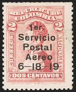 Sale Number 1204, Lot Number 953, Colombia Air Post - 1919 Knox Martin IssueCOLOMBIA, 1919, 2c Knox Martin Air Post (C1), COLOMBIA, 1919, 2c Knox Martin Air Post (C1)
