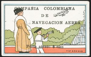 "Sale Number 1204, Lot Number 954, Colombia Air Post - 1920 CCNA First IssueCOLOMBIA, 1920, 10c ""SCADTA"", Woman and Boy Watching Plane (C2), COLOMBIA, 1920, 10c ""SCADTA"", Woman and Boy Watching Plane (C2)"