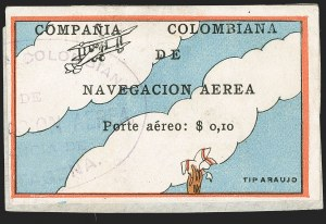 "Sale Number 1204, Lot Number 955, Colombia Air Post - 1920 CCNA First IssueCOLOMBIA, 1920, 10c ""SCADTA"", Clouds and Small Biplane at Top (C3), COLOMBIA, 1920, 10c ""SCADTA"", Clouds and Small Biplane at Top (C3)"