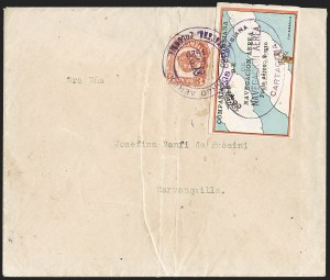 "Sale Number 1204, Lot Number 956, Colombia Air Post - 1920 CCNA First IssueCOLOMBIA, 1920, 10c ""SCADTA"", Clouds and Small Biplane at Top (C3), COLOMBIA, 1920, 10c ""SCADTA"", Clouds and Small Biplane at Top (C3)"
