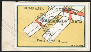 "Sale Number 1204, Lot Number 957, Colombia Air Post - 1920 CCNA First IssueCOLOMBIA, 1920, 10c ""SCADTA"", Tilted Plane Viewed Close-Up from Above (C4), COLOMBIA, 1920, 10c ""SCADTA"", Tilted Plane Viewed Close-Up from Above (C4)"