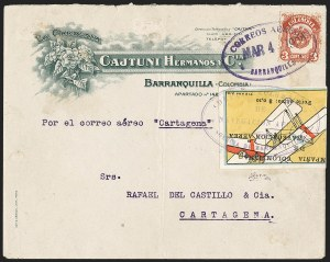 "Sale Number 1204, Lot Number 958, Colombia Air Post - 1920 CCNA First IssueCOLOMBIA, 1920, 10c ""SCADTA"", Tilted Plane Viewed Close-Up from Above (C4), COLOMBIA, 1920, 10c ""SCADTA"", Tilted Plane Viewed Close-Up from Above (C4)"