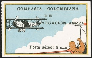 "Sale Number 1204, Lot Number 959, Colombia Air Post - 1920 CCNA First IssueCOLOMBIA, 1920, 10c ""SCADTA"", Flier in Plane Watching Biplane (C5), COLOMBIA, 1920, 10c ""SCADTA"", Flier in Plane Watching Biplane (C5)"