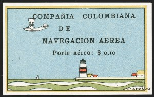 "Sale Number 1204, Lot Number 960, Colombia Air Post - 1920 CCNA First IssueCOLOMBIA, 1920, 10c ""SCADTA"", Lighthouse and Biplane (C6), COLOMBIA, 1920, 10c ""SCADTA"", Lighthouse and Biplane (C6)"