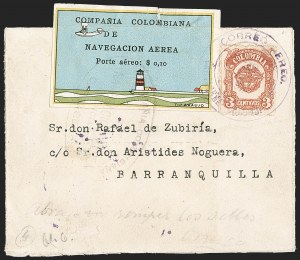 "Sale Number 1204, Lot Number 961, Colombia Air Post - 1920 CCNA First IssueCOLOMBIA, 1920, 10c ""SCADTA"", Lighthouse and Biplane (C6), COLOMBIA, 1920, 10c ""SCADTA"", Lighthouse and Biplane (C6)"