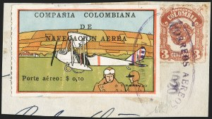 "Sale Number 1204, Lot Number 963, Colombia Air Post - 1920 CCNA First IssueCOLOMBIA, 1920, 10c ""SCADTA"", Plane at Rest and Pilot Foreground (C9), COLOMBIA, 1920, 10c ""SCADTA"", Plane at Rest and Pilot Foreground (C9)"