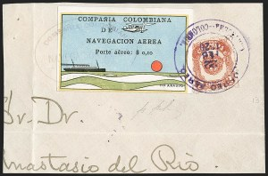 "Sale Number 1204, Lot Number 964, Colombia Air Post - 1920 CCNA First IssueCOLOMBIA, 1920, 10c ""SCADTA"", Ocean Liner (C10), COLOMBIA, 1920, 10c ""SCADTA"", Ocean Liner (C10)"