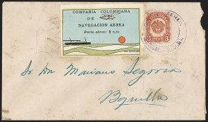 "Sale Number 1204, Lot Number 965, Colombia Air Post - 1920 CCNA First IssueCOLOMBIA, 1920, 10c ""SCADTA"", Ocean Liner (C10), COLOMBIA, 1920, 10c ""SCADTA"", Ocean Liner (C10)"
