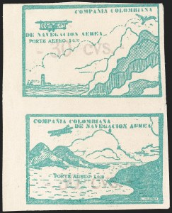 "Sale Number 1204, Lot Number 968, Colombia Air Post - Other 1920 CCNA IssuesCOLOMBIA, 1920, ""-30 cvs-"" on 10c Green, Air Post Surcharges (Sanabria 20-21), COLOMBIA, 1920, ""-30 cvs-"" on 10c Green, Air Post Surcharges (Sanabria 20-21)"