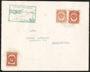 Sale Number 1204, Lot Number 970, Colombia Air Post - Other 1920 CCNA IssuesCOLOMBIA, 1920, 10c Green, Air Post - March 11, 1920 Flight (C11; Sanabria 11), COLOMBIA, 1920, 10c Green, Air Post - March 11, 1920 Flight (C11; Sanabria 11)
