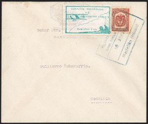 Sale Number 1204, Lot Number 971, Colombia Air Post - Other 1920 CCNA IssuesCOLOMBIA, 1920, 10c Green, Air Post - April 16, 1922 Flight (C11; Sanabria 11), COLOMBIA, 1920, 10c Green, Air Post - April 16, 1922 Flight (C11; Sanabria 11)