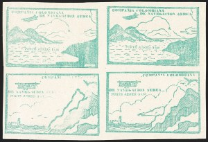 Sale Number 1204, Lot Number 973, Colombia Air Post - Other 1920 CCNA IssuesCOLOMBIA, 1920, 10c Green, Air Post (C11A-C11B; Sanabria 12-13), COLOMBIA, 1920, 10c Green, Air Post (C11A-C11B; Sanabria 12-13)