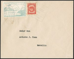Sale Number 1204, Lot Number 974, Colombia Air Post - Other 1920 CCNA IssuesCOLOMBIA, 1920, 10c Green, Air Post - April 16, 1922 Flight (C11A; Sanabria 12), COLOMBIA, 1920, 10c Green, Air Post - April 16, 1922 Flight (C11A; Sanabria 12)