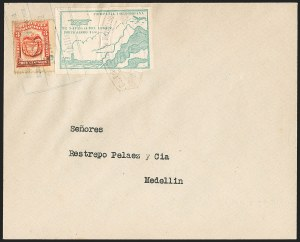 Sale Number 1204, Lot Number 975, Colombia Air Post - Other 1920 CCNA IssuesCOLOMBIA, 1920, 10c Green, Air Post - April 16, 1922 Flight (C11B; Sanabria 13), COLOMBIA, 1920, 10c Green, Air Post - April 16, 1922 Flight (C11B; Sanabria 13)