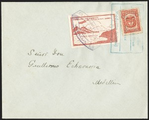 Sale Number 1204, Lot Number 980, Colombia Air Post - Other 1920 CCNA IssuesCOLOMBIA, 1920, 10c Red Brown, Air Post - April 16, 1922 Flight (C11C; Sanabria 16), COLOMBIA, 1920, 10c Red Brown, Air Post - April 16, 1922 Flight (C11C; Sanabria 16)