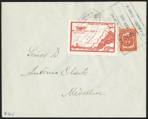 Sale Number 1204, Lot Number 981, Colombia Air Post - Other 1920 CCNA IssuesCOLOMBIA, 1920, 10c Red Brown, Air Post - April 16, 1922 Flight (C11D; Sanabria 16), COLOMBIA, 1920, 10c Red Brown, Air Post - April 16, 1922 Flight (C11D; Sanabria 16)