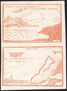 Sale Number 1204, Lot Number 982, Colombia Air Post - Other 1920 CCNA IssuesCOLOMBIA, 1920, 10c Vermilion, Re-engraved Mountain, Air Post (C11Dl; Sanabria 15a), COLOMBIA, 1920, 10c Vermilion, Re-engraved Mountain, Air Post (C11Dl; Sanabria 15a)