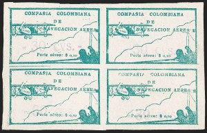 "Sale Number 1204, Lot Number 983, Colombia Air Post - Other 1920 CCNA IssuesCOLOMBIA, 1920, ""-30 cvs-"" on 10c Green, Air Post Surcharges (C11E; Sanabria 19), COLOMBIA, 1920, ""-30 cvs-"" on 10c Green, Air Post Surcharges (C11E; Sanabria 19)"