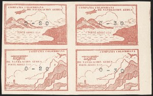 Sale Number 1204, Lot Number 984, Colombia Air Post - Other 1920 CCNA IssuesCOLOMBIA, 1920, 20c and 30c on 10c Red Brown (C11F-C11Hi; Sanabria 26-29), COLOMBIA, 1920, 20c and 30c on 10c Red Brown (C11F-C11Hi; Sanabria 26-29)