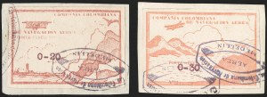 Sale Number 1204, Lot Number 985, Colombia Air Post - Other 1920 CCNA IssuesCOLOMBIA, 1920, 20c and 30c Surcharges on 10c Red Brown, Narrow Spacing (C11F, C11H vars), COLOMBIA, 1920, 20c and 30c Surcharges on 10c Red Brown, Narrow Spacing (C11F, C11H vars)